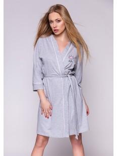 Женский домашний хлопковый халат с карманами серый