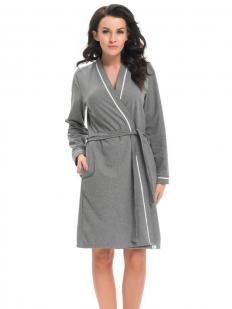 Серый женский домашний халат из хлопка с карманами