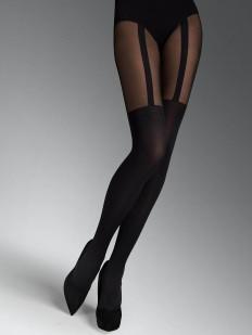 Черные колготки с имитацией матовых чулок 60 DEN и пояса