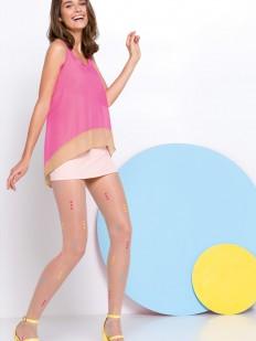 Летние телесные колготки в цветной горошек 20 ден