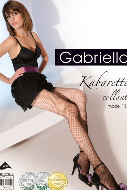 Классические черные колготки в мелкую сетку Gabriella 151 KABARETTE - фото 1
