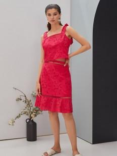 Летняя розовая юбка миди с цветочной вышивкой
