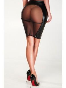 Черная лакированная юбка карандаш с прозрачной сеточкой сзади