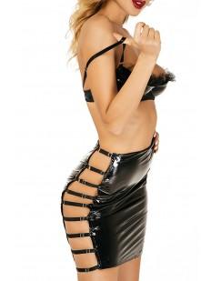 Черная лакированная юбка со стрэп лентами по бокам