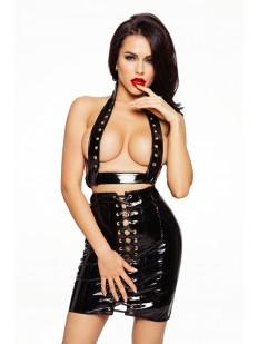 Эротическая черная лакированная юбка на шнуровке для ролевых игр