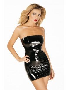 Короткое черное лакированное эротическое платье с открытыми плечами