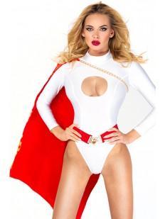 Эротический белый женский костюм супергероя с красным плащом