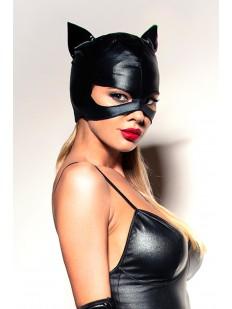 Черная латексная маска кошечки для ролевых игр