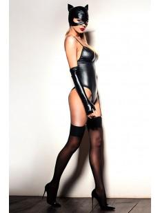 Латексный черный костюм кошечки для ролевых игр