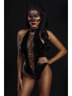 Лакированный костюм кошечки с маской и ушками