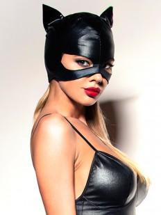 Женская игровая латексная маска кошечки с ушками