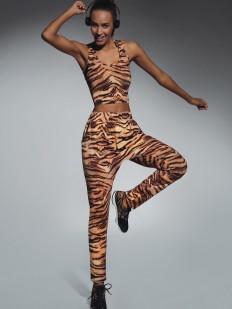 Спортивные легинсы для фитнеса с цветным тигровым рисунком