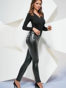 Женские кожаные леггинсы брюки с декоративными карманами