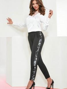 Женские брюки леггинсы с блестящими пайетками на лампасах