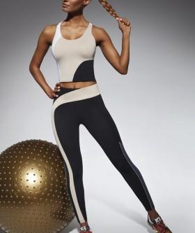 Спортивные женские лосины для фитнеса с контрастной полоской