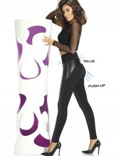 Женские высокие пуш ап леггинсы из вискозы с кожаными вставками