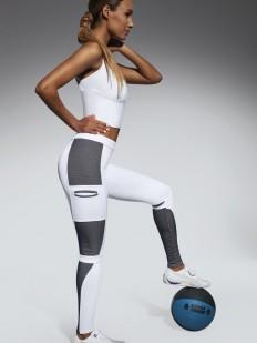 Спортивные женские белые леггинсы для фитнеса в футуристичном стиле