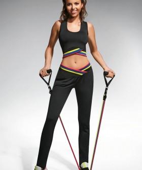 Спортивные черные женские легинсы для фитнеса