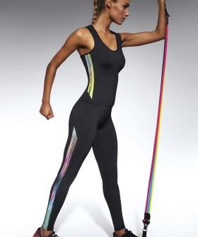 Спортивные черные женские легинсы для фитнеса с принтом