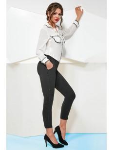 Женские брюки леггинсы из крепа с лампасами и карманами