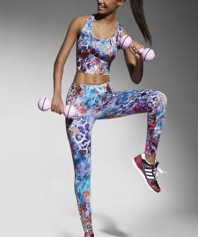 Спортивные женские легинсы для фитнеса с цветным принтом