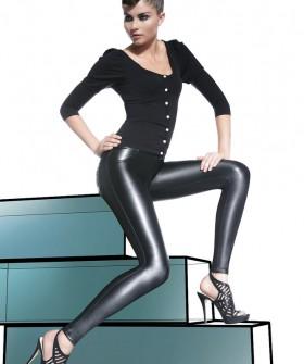 Черные женские кожаные легинсы с карманами