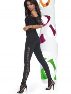 Модные женские легинсы с кружевными вставками по бокам