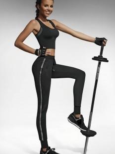 Черные спортивные леггинсы для фитнеса с лампасами