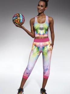 Спортивные укороченные цветные леггинсы капри для фитнеса