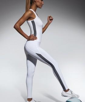 Женские спортивные белые леггинсы для фитнеса с полосками