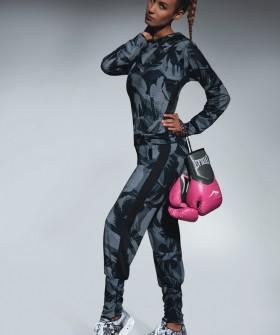 Спортивные женские легинсы для фитнеса в стиле милитари