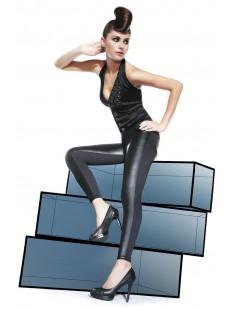 Женские кожаные легинсы с накладными карманами
