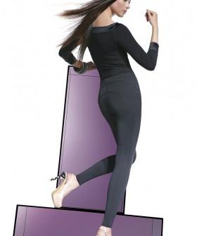 Черные женские леггинсы с накладными карманами