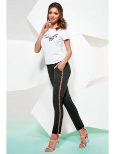Женские брюки леггинсы с леопардовыми лампасами