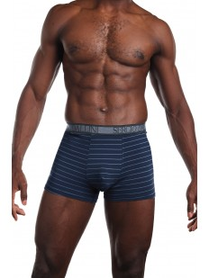 Мужские синие трусы боксеры в полоску без боковых швов