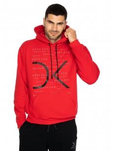 Красное мужское худи с капюшоном и карманом кенгуру