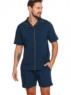 Хлопковая мужская пижама: синие шорты и рубашка на пуговицах