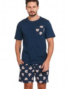 Синяя мужская пижама из хлопка: футболка и шорты с мишками