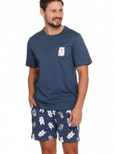 Хлопковая летняя мужская пижама c шортами и рисунком в виде мишек