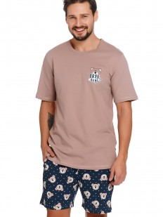 Хлопковая мужская пижама: бежевая футболка и шорты с мишками