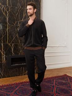 Черные мужские спортивные брюки свободного кроя для дома