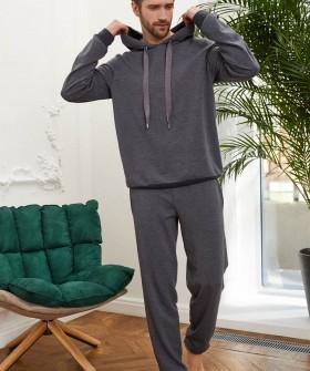 Домашние мужские брюки серого цвета в спортивном стиле