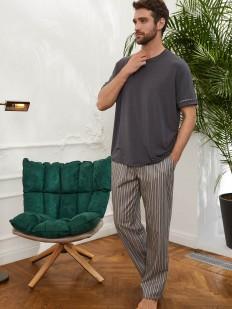 Домашние мужские брюки из хлопка в вертикальную полоску