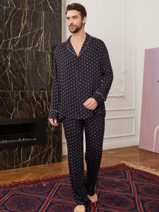 Мужская пижамная рубашка с длинным рукавом и принтом ромб