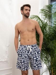 Купальные мужские шорты удлиненные с карманами и геометрическим рисунком
