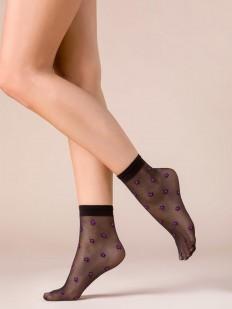Черные женские капроновые носочки с фиолетовыми звездами