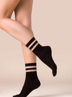 Черные женские носки из лиоцелла с прозрачными полосками