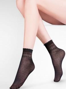 Черные капроновые женские носки в мелкий горошек с ажурной резинкой
