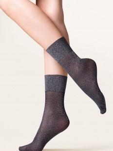 Высокие серебристые женские носки на мягкой широкой резинке
