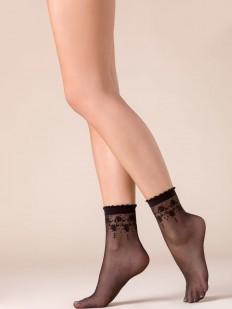 Капроновые черные женские носки с цветочным узором